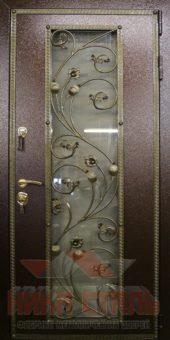 Дверь входная металлическая стеклом и ковкой