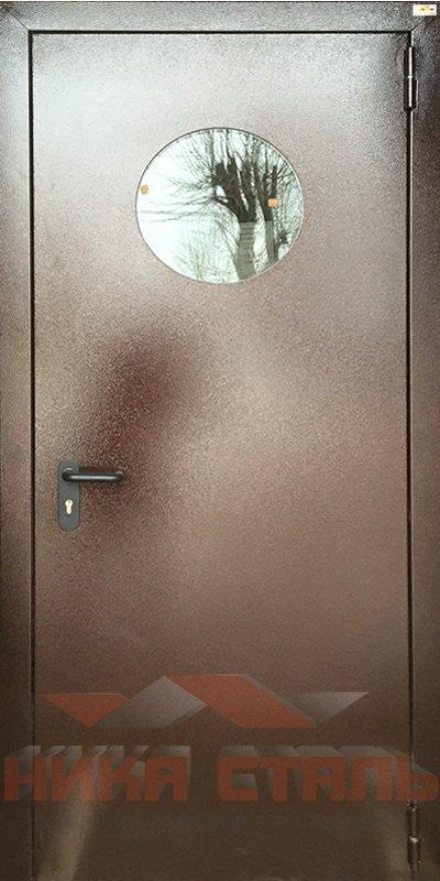Противопожарная дверь из оцинковки с окошком